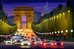 Vida nocturna de la ciudad de la calle París, Francia de Champs-Elysees libre illustration