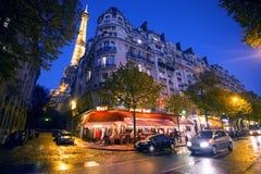 Vida nocturna de París Imágenes de archivo libres de regalías