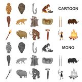 Vida nos ícones dos desenhos animados da Idade da Pedra na coleção do grupo para o projeto Ilustração da Web do estoque do símbol ilustração do vetor