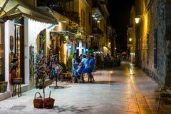Vida noturna da cidade de Nafplio Fotografia de Stock Royalty Free