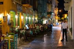 Vida noturna da cidade de Nafplio Imagens de Stock
