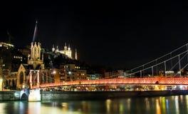 Vida noturna na cidade velha de Lyon, França Foto de Stock Royalty Free