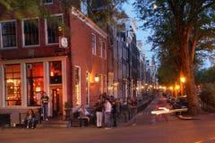 Vida noturno de Amsterdão, os Países Baixos Fotografia de Stock