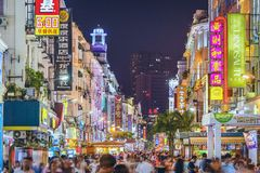 Vida noturno de Xiamen, China Imagem de Stock