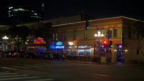 Vida noturno no quarto hist?rico San Diego - CALIF?RNIA de Gaslamp, EUA - 18 DE MAR?O DE 2019 video estoque