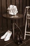 Vida preto e branco do casamento ainda Fotografia de Stock Royalty Free