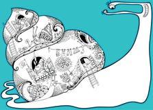 Vida privada dos caracóis Vector a composição com os caracóis grandes e pequenos do esboço em preto e branco no fundo do torquois Fotografia de Stock