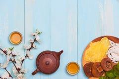 Vida puesta plano conceptual de la comida china y de la bebida del Año Nuevo aún Fotografía de archivo libre de regalías