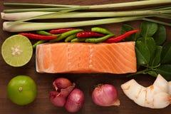 Vida rústica do alimento picante do 'batata doce' de tom do bife Salmon ainda Imagens de Stock