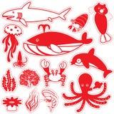 Vida roja de los iconos de la silueta debajo del mar Imagen de archivo libre de regalías