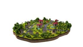 Vida simbólica de la isla de una pequeña ciudad, con vida de cada día del ` s de la gente Como animación de Sims 3d Mate alfa metrajes