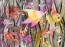 Vida subaquática - arraia-lixa e vegetações dos peixes ilustração royalty free