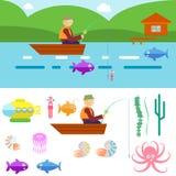 Vida subaquática do estilo liso com pescador em um vetor do barco Imagens de Stock Royalty Free