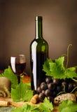 Vida todavía del vino rojo con piedras areniscas imágenes de archivo libres de regalías