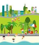Vida urbana ilustração royalty free
