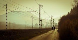 Vida urbana de la silueta Imágenes de archivo libres de regalías