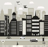 Vida urbana em preto e branco Imagem de Stock Royalty Free