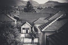 Vida urbana pequena de Balcãs Fotografia de Stock