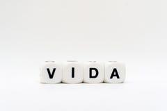 Vida, Würfelbuchstaben Stockbild