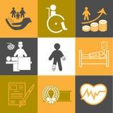 Vida y colección sana de los iconos del seguro Fotos de archivo libres de regalías
