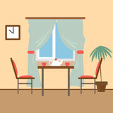 Vida y comedores con muebles Illust plano del vector del estilo Fotos de archivo