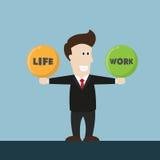 Vida y trabajo de la balanza del hombre de negocios Foto de archivo