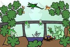 Vidas familiares del duende debajo del puente ilustración del vector