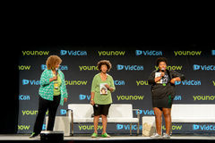 Vidcon 2016. Anaheim, CA - June 24: Glozell Green (L) performs at the 7th annual VidCon conference for YouTube creators, influencers, industry experts and fans Stock Image