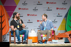 Vidcon 2016. Anaheim, CA - June 23: Harley Morenstein (L) answers questions during the 7th annual VidCon conference for YouTube creators, influencers, industry Stock Image