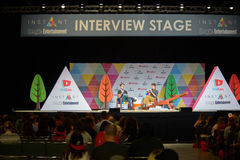 Vidcon 2016. Anaheim, CA - June 24: Sawyer Harman (L) answers questions from fans at the 7th annual VidCon conference for YouTube creators at the Anaheim Stock Images