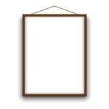 A4 vide a classé la maquette de papier de cadre en bois de vecteur accrochant avec la corde Maquette d'illustration Photo stock