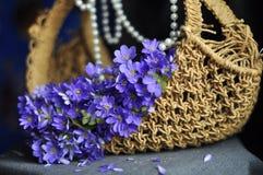Vide- korg med purpurfärgade blommor av snödroppar och pärlor royaltyfria foton