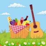 Vide- picknickkorg mycket av produkter vektor illustrationer
