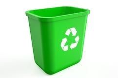 Vide réutilisez la poubelle verte Images libres de droits