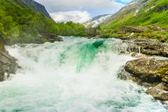 Videfossen waterfall in Norway Royalty Free Stock Images