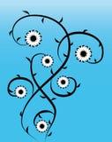 Videiras florais no azul   ilustração stock