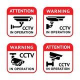 Videoüberwachungzeichen eingestellt Lizenzfreies Stockfoto