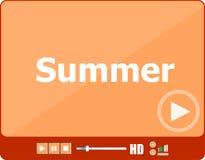 Video για τον Ιστό με το καλοκαίρι λέξης του, διακοπών ή τεχνολογίας στην κάρτα Στοκ Εικόνες