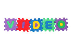 Video. Word Video, from letter puzzle, isolated on white background Royalty Free Stock Images