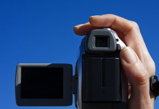 Video. Home video camera recorded on blue sky Royalty Free Stock Photography
