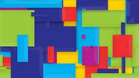 Video of rapidly varying shapes and colors. Video of abstract patterns in shades of purple, orange, blue, green and yellow of ever changing sizes and positions stock illustration