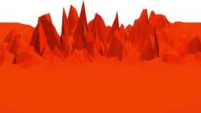 Abstract waving red low poly surface as landscape. Video of abstract waving red low poly surface as landscape stock video