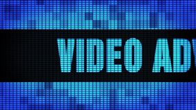 Video Advertising Front Text Scrolling LED Wall Pannel Display Sign Board. Video Advertising Front Text Scrolling on Light Blue Digital LED Display Board Pixel stock footage