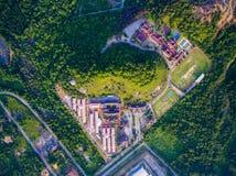 Video aereo del complesso di costruzione, città universitaria Fotografia Stock Libera da Diritti