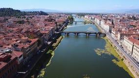Video aereo del metraggio del fuco - vista panoramica di Firenze stock footage