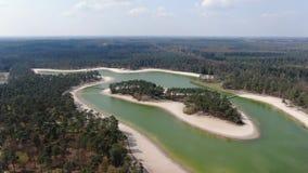 video aereo 4k della scena tropicale con la piccola isola sul bello lago video d archivio