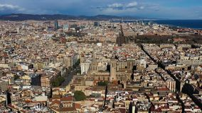 Video aerial view to Barcelona city center Gothic Quarter and Cathedral of the Holy Cross and Saint Eulalia. Video. Footage. Sunny beautiful day stock video