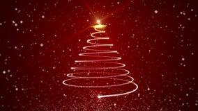Video albero di Natale animato su fondo rosso illustrazione vettoriale