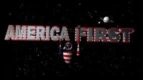 Video America primo robot della bandiera americana 3D video d archivio