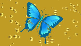 Video animation blue tropical butterfly drowning in beer. FullHD video 1920x1080 stock footage